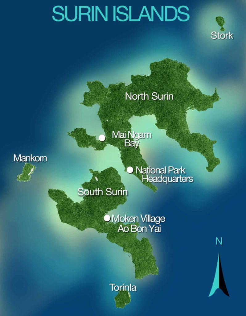 Map of the Surin Islamds