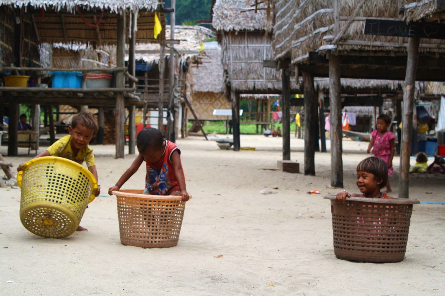 Moken Kids playing in the Village