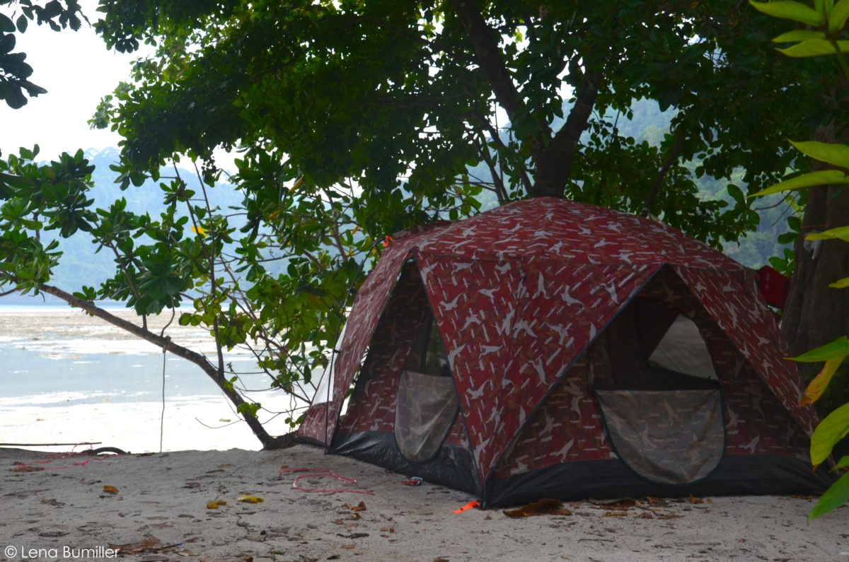 Tents overlooking the Mai Ngam Bay